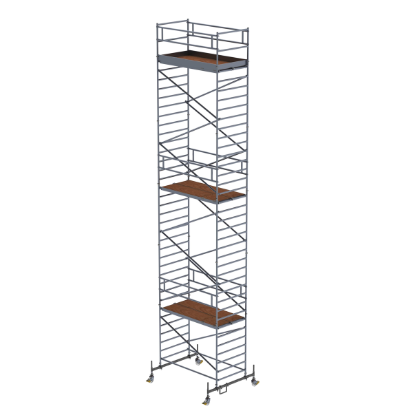 Mobile scaffolding 1.35 x 2.45 m with chassis bar and double platform Platform height 10.45 m