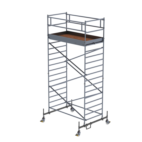 Mobile scaffolding 1.35 x 2.45 m with chassis bar and double platform Platform height 4.45 m