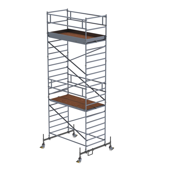 Mobile scaffolding 1.35 x 2.45 m with chassis bar and double platform Platform height 5.45 m