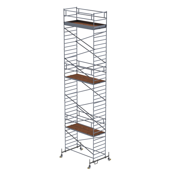Mobile scaffolding 1.35 x 3.0 m with chassis bar and double platform Platform height 10.45 m