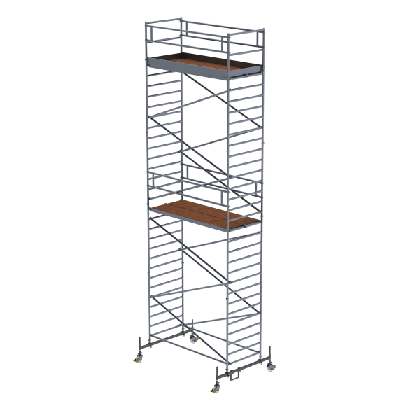 Mobile scaffolding 1.35 x 3.0 m with chassis bar and double platform Platform height 8.45 m