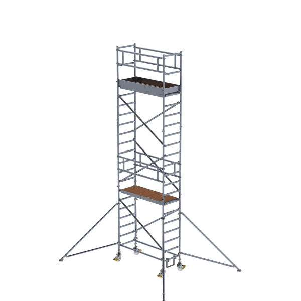 Mobile scaffolding 0.75 x 1.80 m with outriggers Platform height 5.35 m