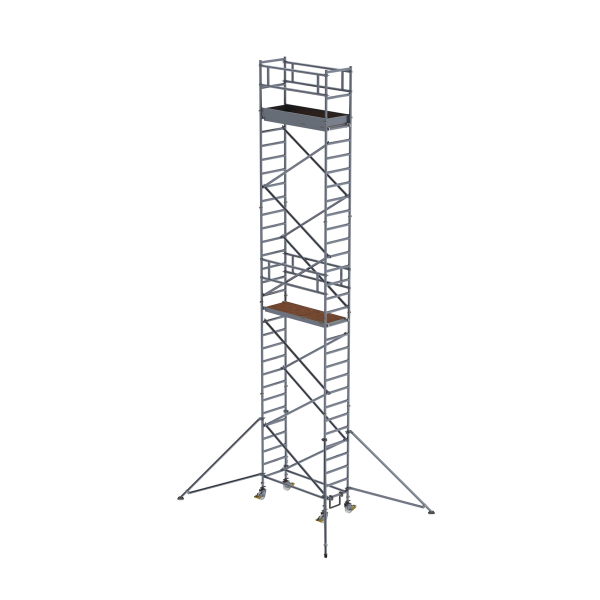 Mobile scaffolding 0.75 x 1.80 m with outriggers Platform height 8.35 m