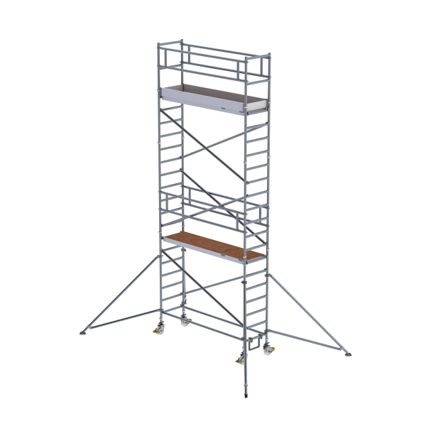 Mobile scaffolding 0.75 x 2.45 m with outriggers Platform height 5.35 m