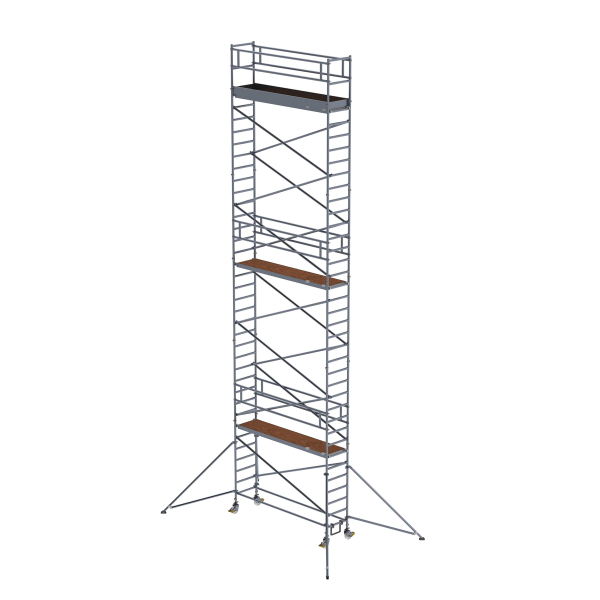 Mobile scaffolding 0.75 x 3.0 m with outriggers Platform height 10.35 m