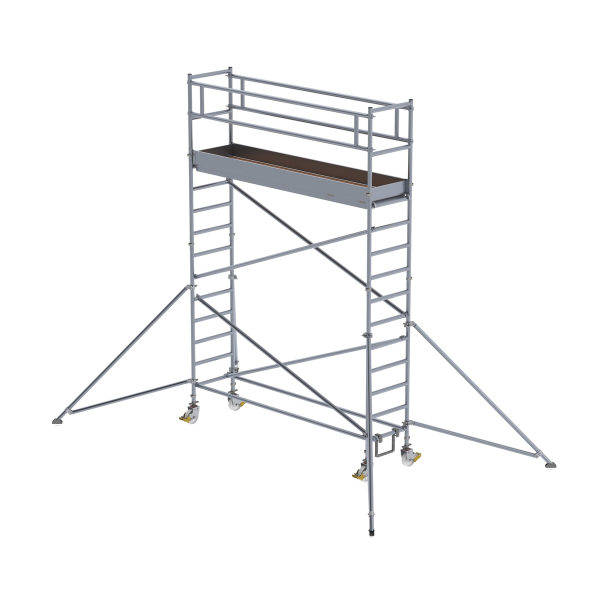 Mobile scaffolding 0.75 x 3.0 m with outriggers Platform height 3.35 m