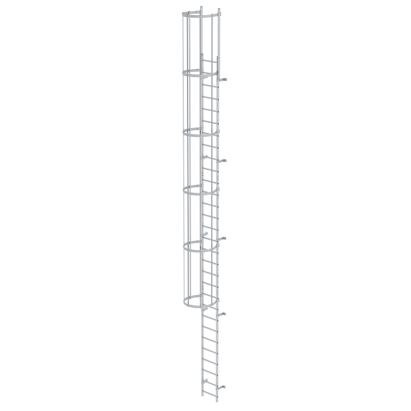 Single-flight vertical ladder with back protection (construction) anodised aluminium 9.60 m