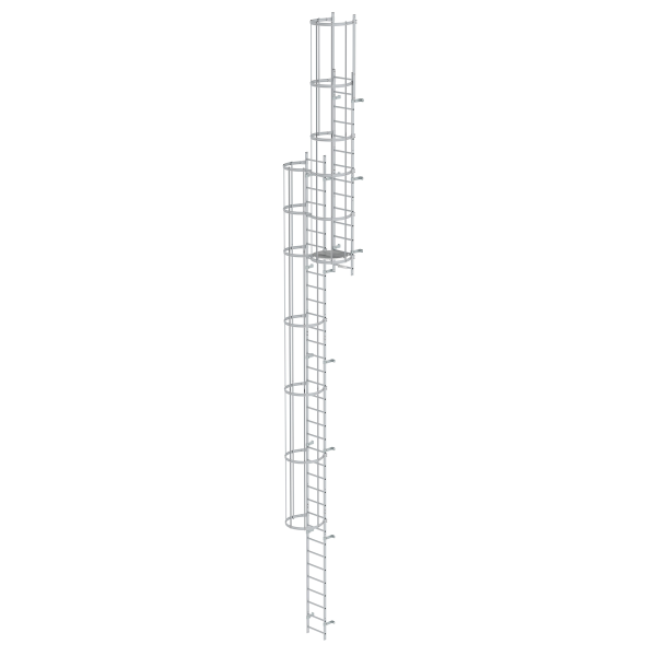 Multiple-flight vertical ladder with back protection (construction) anodised aluminium 12.96 m