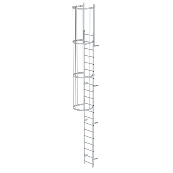 Single-flight vertical ladder with back protection (machinery) anodised aluminium 6.80 m