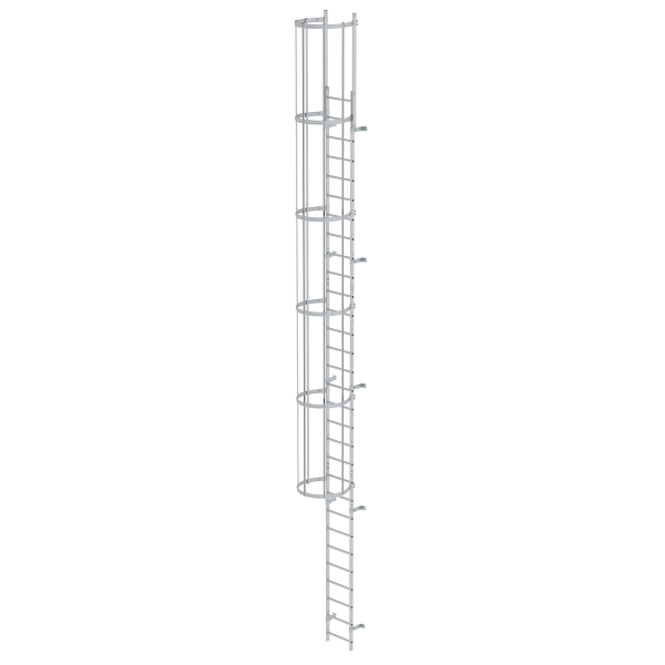 Single-flight vertical ladder with back protection (machinery) anodised aluminium 9.60 m