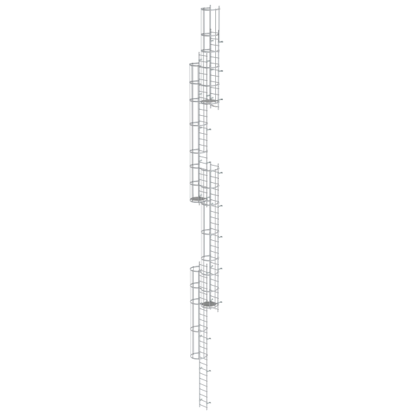 Multiple-flight vertical ladder with back protection (emergency ladder) anodised aluminium 19.96 m