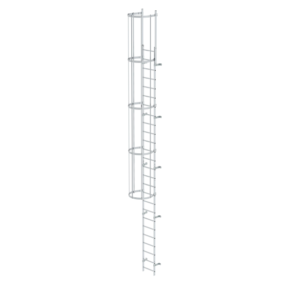 Single-flight vertical ladder with back protection (construction) bright aluminium 8.48 m