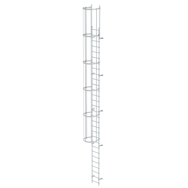 Single-flight vertical ladder with back protection (construction) bright aluminium 9.60 m