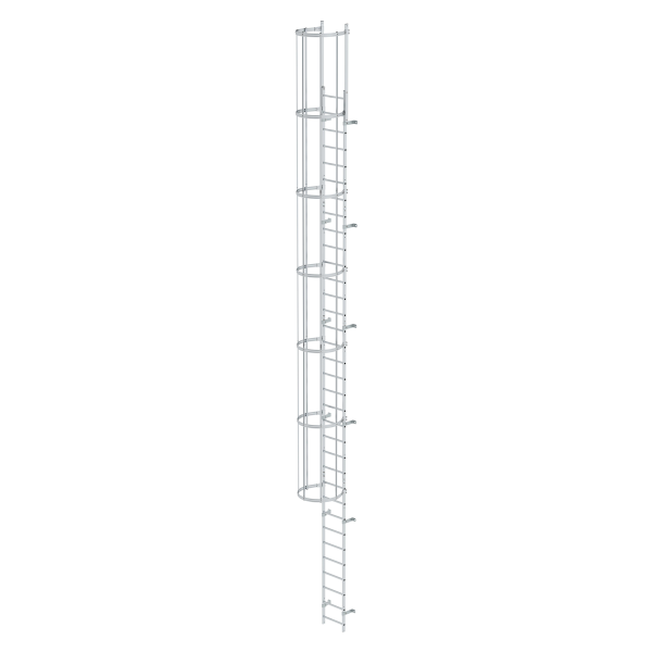 Single-flight vertical ladder with back protection (construction) bright aluminium 10.72 m