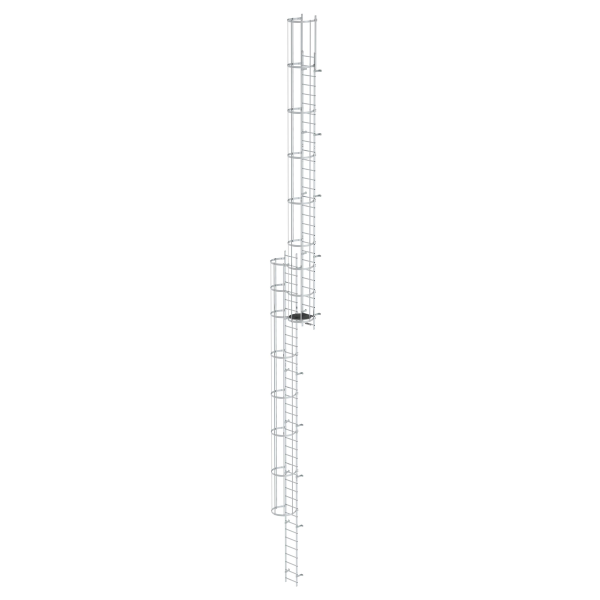 Multiple-flight vertical ladder with back protection (construction) bright aluminium 18.28 m