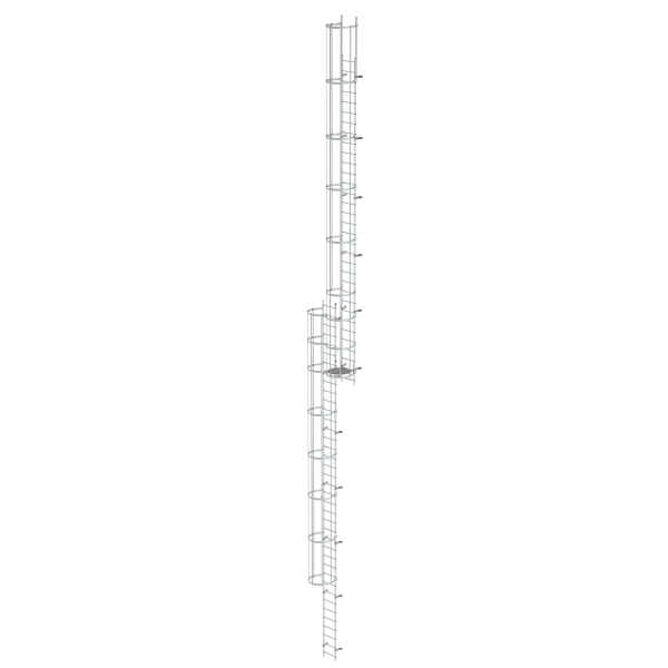 Multiple-flight vertical ladder with back protection (construction) bright aluminium 19.12 m