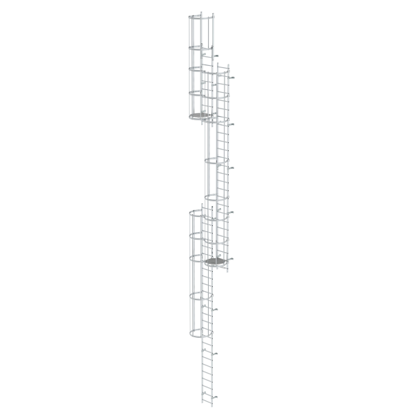 Multiple-flight vertical ladder with back protection (emergency ladder) bright aluminium 14.36 m