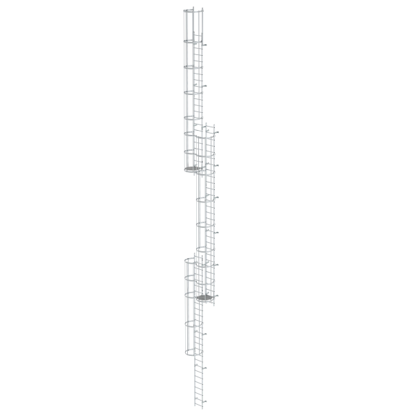 Multiple-flight vertical ladder with back protection (emergency ladder) bright aluminium 18.84 m