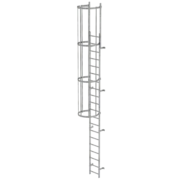 Single-flight vertical ladder with back protection (construction) galvanised steel 6.80 m