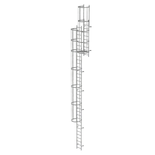 Multiple-flight vertical ladder with back protection (construction) galvanised steel 11.84 m