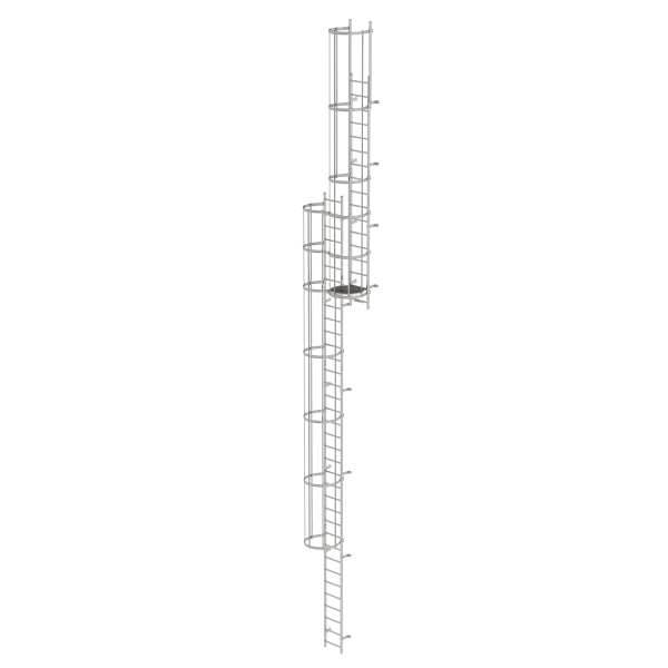 Multiple-flight vertical ladder with back protection (construction) stainless steel 13.80 m