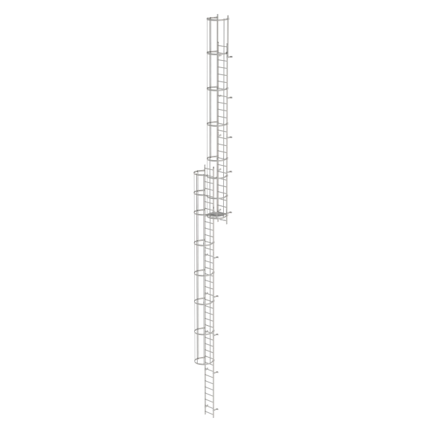 Multiple-flight vertical ladder with back protection (construction) stainless steel 17.16 m