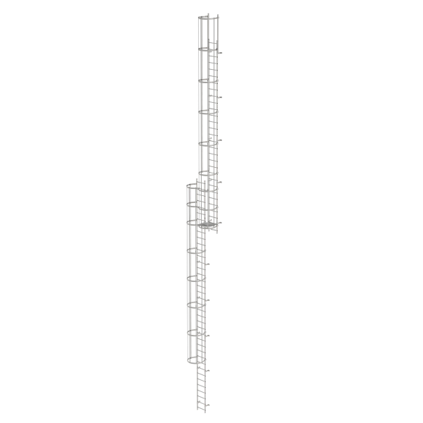 Multiple-flight vertical ladder with back protection (construction) stainless steel 18.28 m