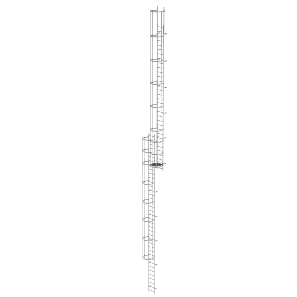 Multiple-flight vertical ladder with back protection (construction) stainless steel 19.12 m