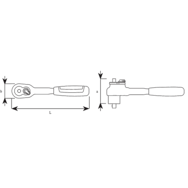 10 mm (3/8″) VDE QuickRelease ratchet, fine tooth WA4.5 ° L.205 mm