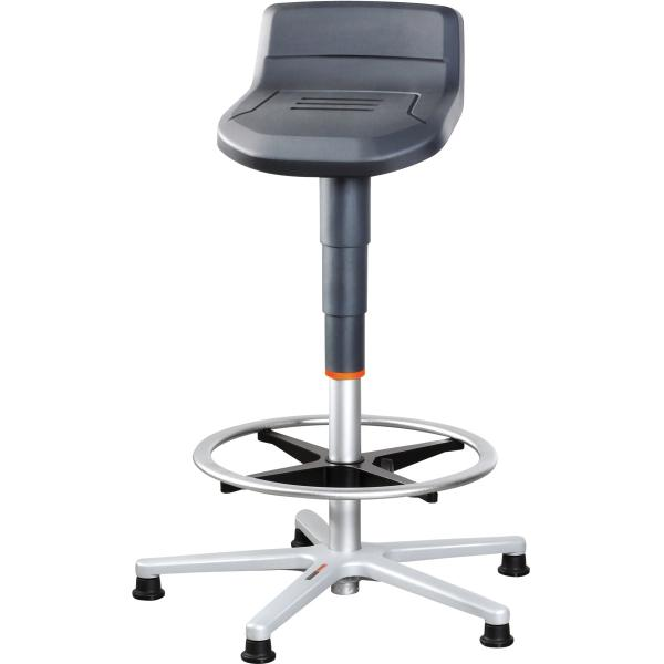 Standing stool with glides and footrest ring, high