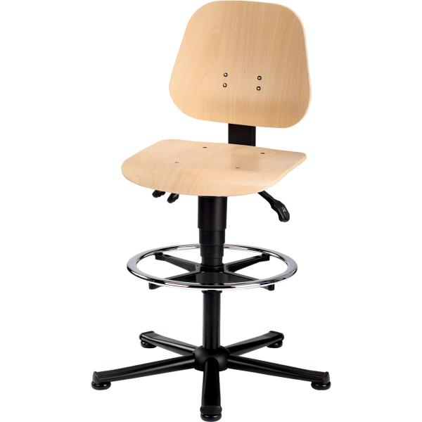 Swivel work chair, wood, with glides and footrest ring
