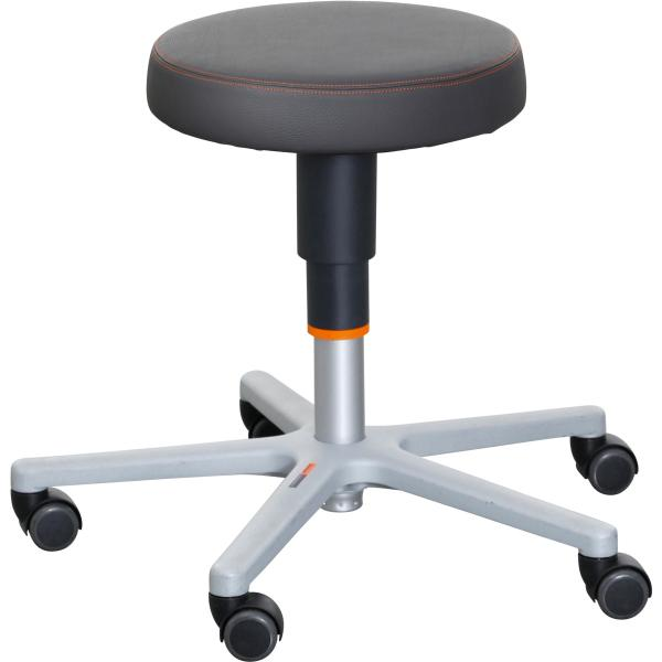 Work stool, synthetic leather, with castors, low