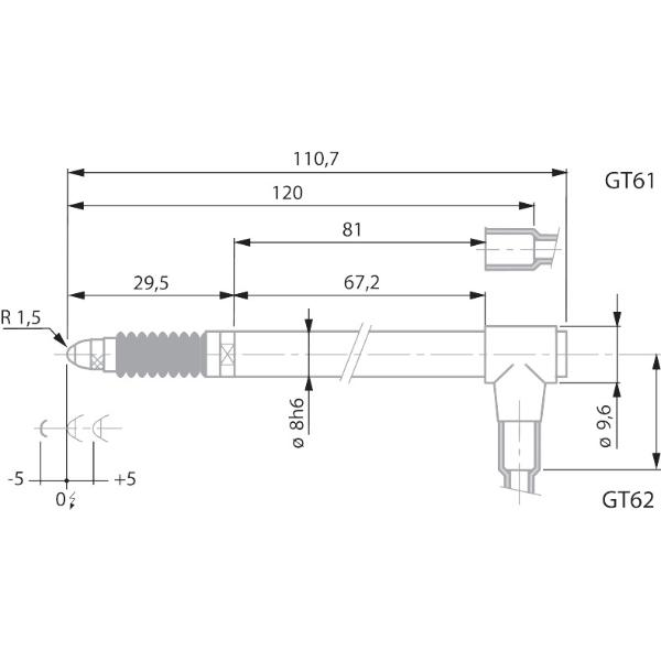 Inductive length measuring probe, radial  GT62