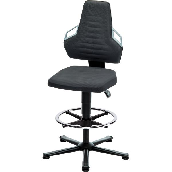 Swivel work chair, Supertec, with glides and footrest ring, high BLACK