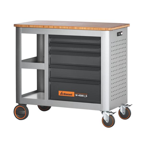 Mobile workbench with 5 drawers, can be pulled out from only one side 5
