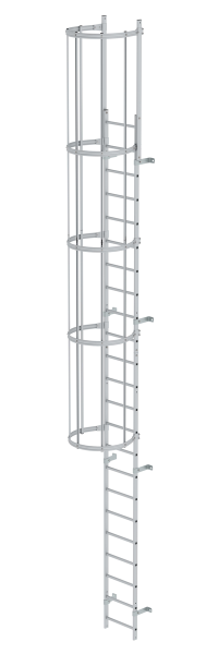 Single-flight vertical ladder with back protection (construction) anodised aluminium 7.64 m