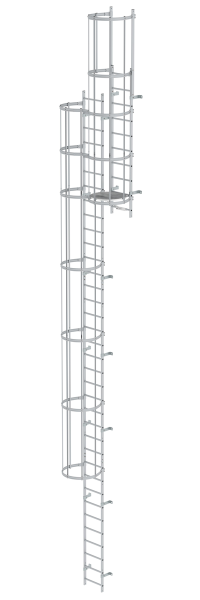 Multiple-flight vertical ladder with back protection (construction) anodised aluminium 11.84 m