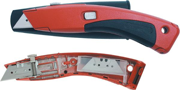 General-purpose trimming knife with retractable blade and case